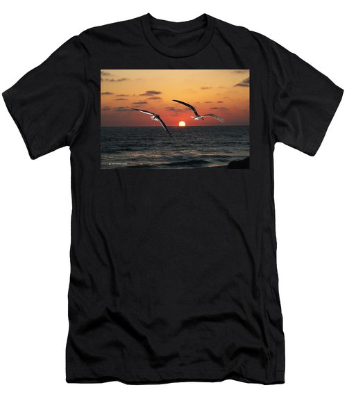 Men's T-Shirt (Slim Fit) featuring the photograph Black Skimmers At Sunset by Tom Janca