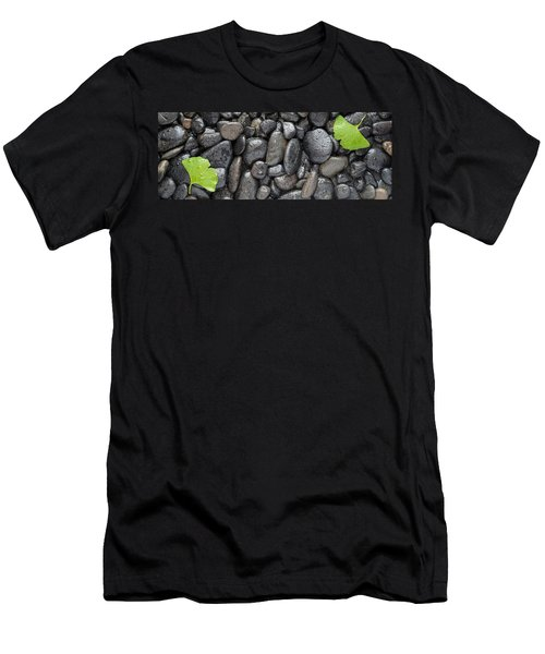 Black Stones And Ginko Leaves Panorama Men's T-Shirt (Athletic Fit)