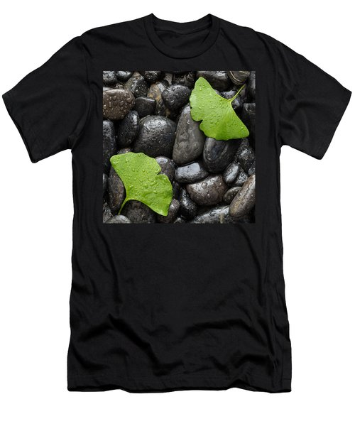 Black Stones And Ginko Leaves Square Men's T-Shirt (Athletic Fit)