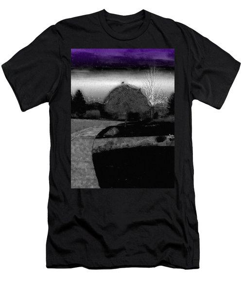 Blackbird In Tree Under Purple Night Sky Men's T-Shirt (Athletic Fit)