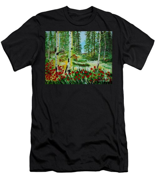 Men's T-Shirt (Slim Fit) featuring the painting Bliss by Leslie Allen