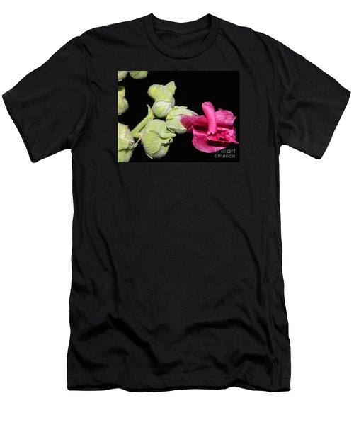Men's T-Shirt (Athletic Fit) featuring the photograph Blooming Pink Hollyhock by Ann E Robson