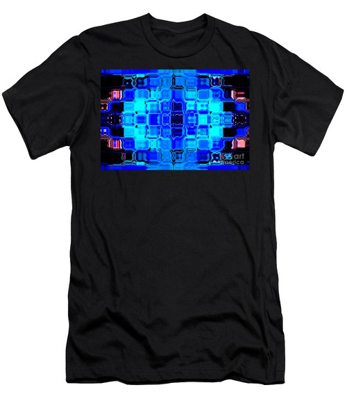 Men's T-Shirt (Slim Fit) featuring the digital art Blue Bubble Glass by Anita Lewis