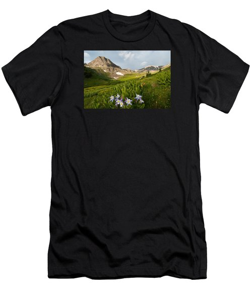 Men's T-Shirt (Athletic Fit) featuring the photograph Handie's Peak And Blue Columbine On A Summer Morning by Cascade Colors