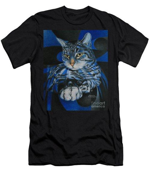 Men's T-Shirt (Slim Fit) featuring the painting Blue Feline Geometry by Pamela Clements