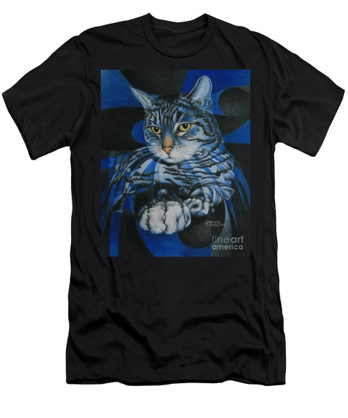 Blue Feline Geometry Men's T-Shirt (Athletic Fit)