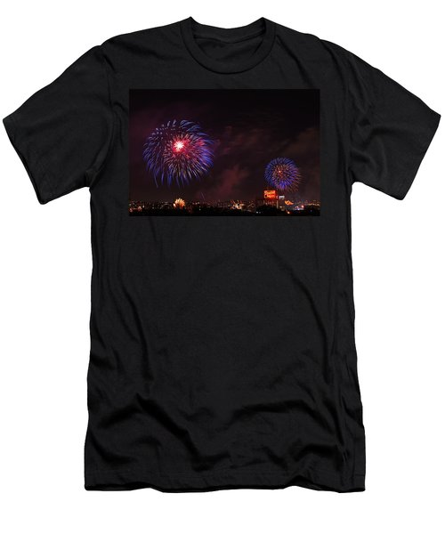 Blue Fireworks Over Domino Sugar Men's T-Shirt (Athletic Fit)