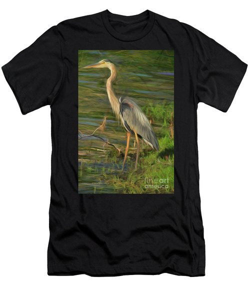 Blue Heron On The Bank Men's T-Shirt (Athletic Fit)