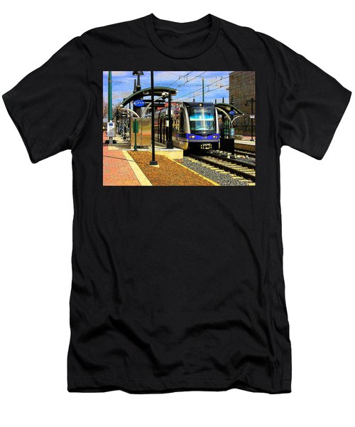 Men's T-Shirt (Slim Fit) featuring the photograph Blue Line by Rodney Lee Williams