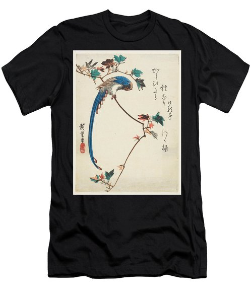 Blue Magpie On Maple Branch Men's T-Shirt (Athletic Fit)