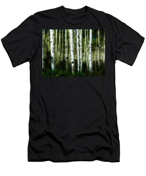 Men's T-Shirt (Slim Fit) featuring the photograph Blue Mood Aspens I by Lanita Williams