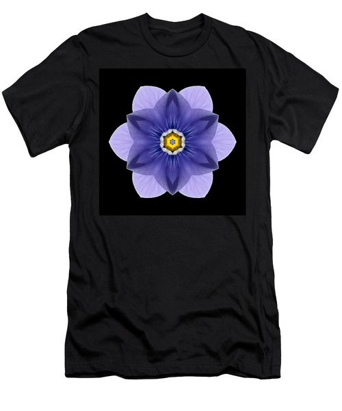 Blue Pansy I Flower Mandala Men's T-Shirt (Athletic Fit)
