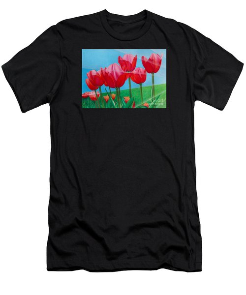 Blue Ray Tulips Men's T-Shirt (Athletic Fit)