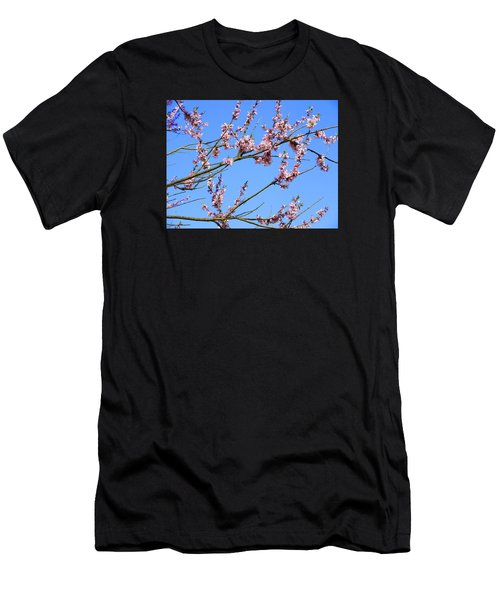Blue Sky And Pink Blossom. Men's T-Shirt (Athletic Fit)