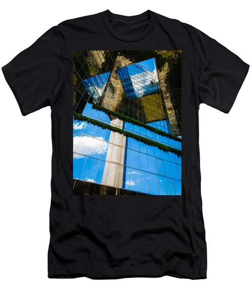Men's T-Shirt (Slim Fit) featuring the photograph Blue Sky Reflections On A London Skyscraper by Peta Thames