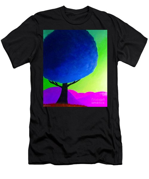 Men's T-Shirt (Slim Fit) featuring the painting Blue Tree by Anita Lewis