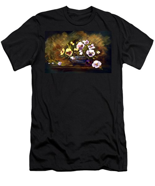 Blue Vase With Pansies Men's T-Shirt (Slim Fit) by Dorothy Maier