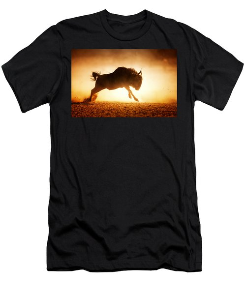 Blue Wildebeest Running In Dust Men's T-Shirt (Athletic Fit)