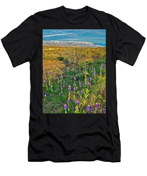 Bluebonnets And Creosote Bushes In Big Bend National Park-texas Men's T-Shirt (Athletic Fit)