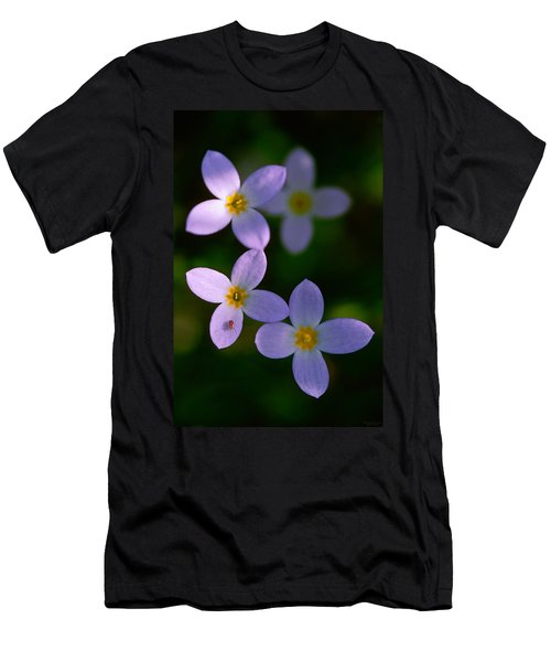 Men's T-Shirt (Slim Fit) featuring the photograph Bluets With Aphid by Marty Saccone
