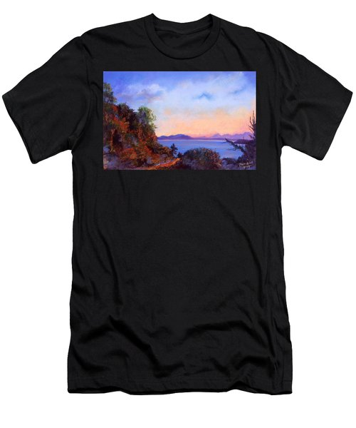 Men's T-Shirt (Slim Fit) featuring the pastel Bluff by Susan Will