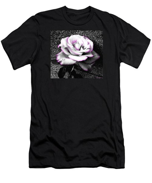 Men's T-Shirt (Slim Fit) featuring the photograph Blushing White Rose by Shawna Rowe