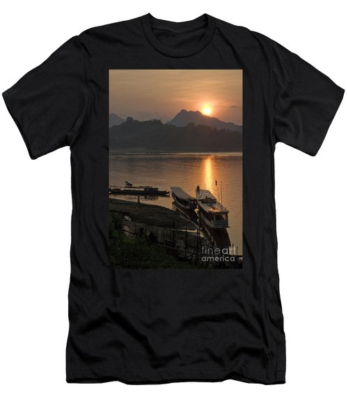 Boats On River By Luang Prabang Laos  Men's T-Shirt (Athletic Fit)