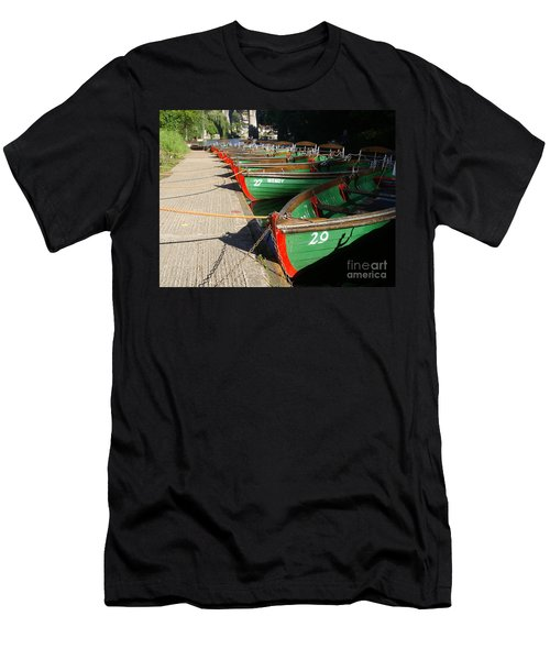 Men's T-Shirt (Slim Fit) featuring the photograph Boats Waiting For Kids by Doc Braham