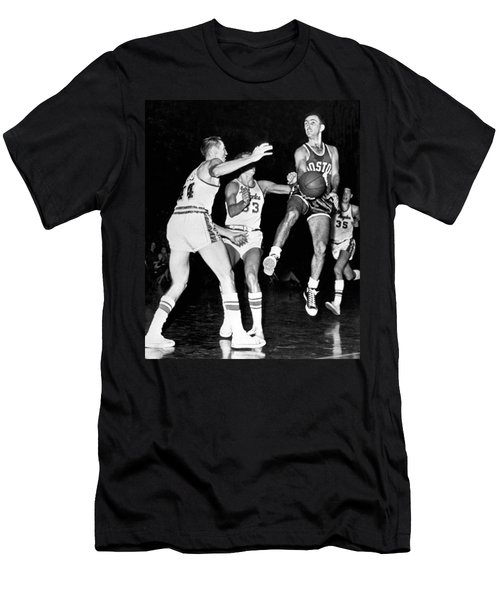 5b36c32ab Bob Cousy Passes Basketball Men s T-Shirt (Athletic Fit)
