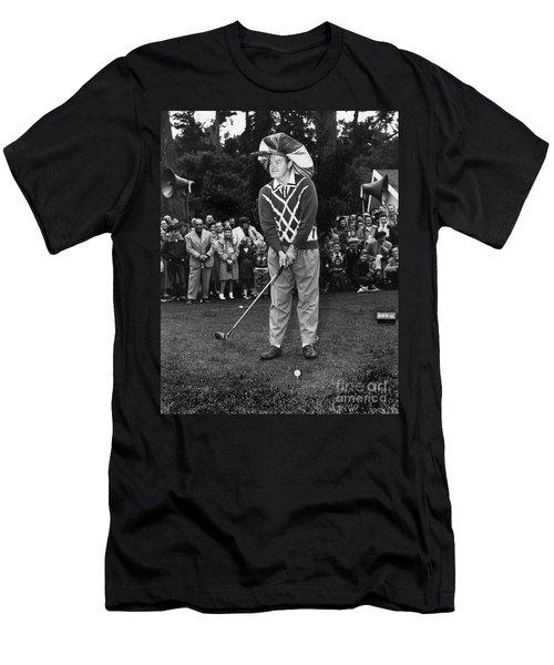 Bob Hope At Bing Crosby National Pro-am Golf Championship  Pebble Beach Circa 1955 Men's T-Shirt (Slim Fit) by California Views Mr Pat Hathaway Archives
