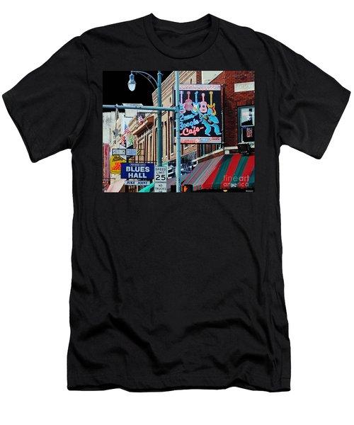 Boogie On Beale St Memphis Tn Men's T-Shirt (Slim Fit) by Lizi Beard-Ward