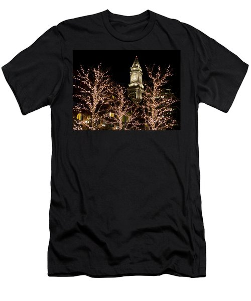 Boston Custom House With Christmas Lights Men's T-Shirt (Athletic Fit)