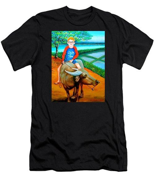 Boy Riding A Carabao Men's T-Shirt (Athletic Fit)