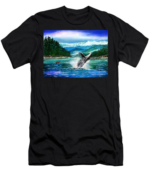 Men's T-Shirt (Slim Fit) featuring the painting Breaching Humpback Whale by Patricia L Davidson