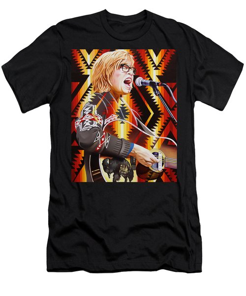 Men's T-Shirt (Slim Fit) featuring the painting Brett Dennen by Joshua Morton