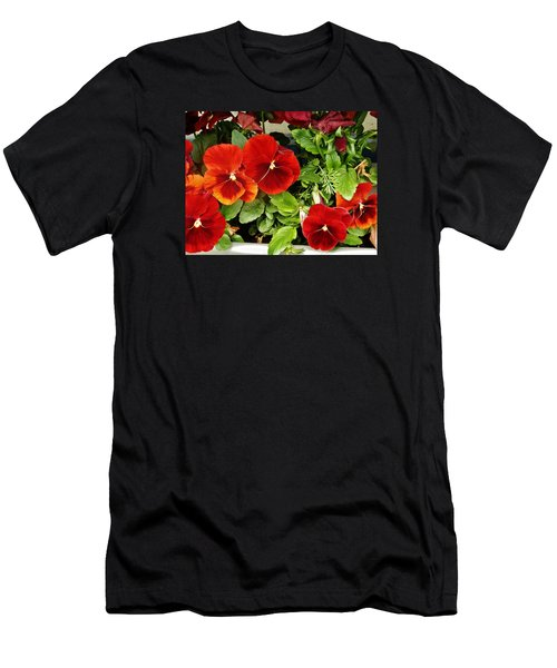 Men's T-Shirt (Slim Fit) featuring the photograph Brick Pansies by VLee Watson