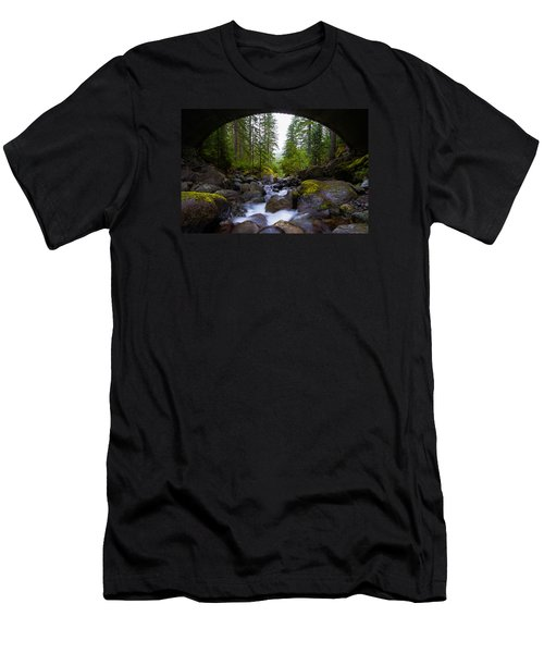 Bridge Below Rainier Men's T-Shirt (Athletic Fit)