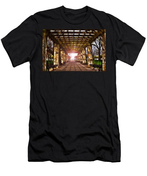 Men's T-Shirt (Slim Fit) featuring the photograph Bridge To The Light From The Series The Imprint Of Man In Nature by Verana Stark