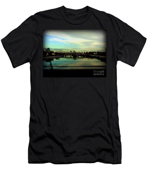Men's T-Shirt (Slim Fit) featuring the photograph Bridge With White Clouds by Miriam Danar