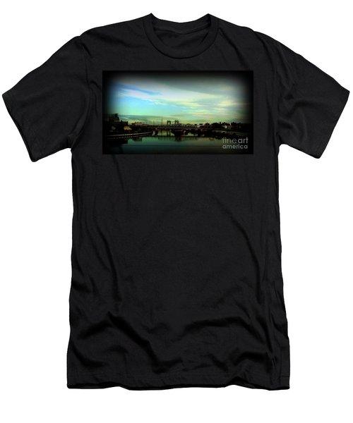 Men's T-Shirt (Slim Fit) featuring the photograph Bridge With White Clouds Vignette by Miriam Danar