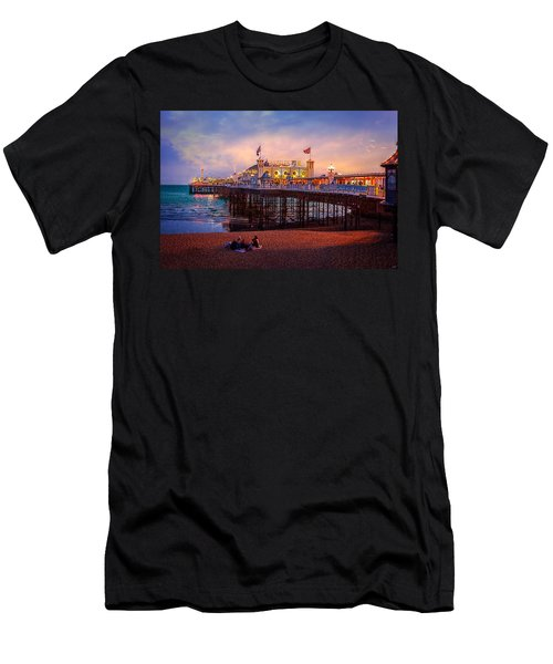 Men's T-Shirt (Slim Fit) featuring the photograph Brighton's Palace Pier At Dusk by Chris Lord