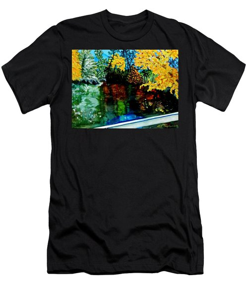 Men's T-Shirt (Slim Fit) featuring the painting Brilliant Mountain Colors In Reflection by Lil Taylor