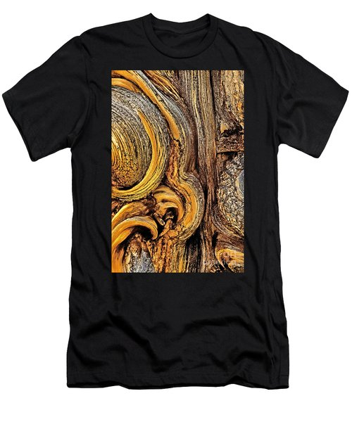 Men's T-Shirt (Slim Fit) featuring the photograph Bristlecone Pine Bark Detail White Mountains Ca by Dave Welling