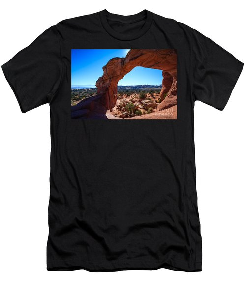 Men's T-Shirt (Slim Fit) featuring the photograph Broken Arch Under Blue Sky by Peta Thames
