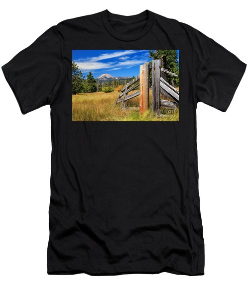 Broken Fence And Mount Lassen Men's T-Shirt (Athletic Fit)