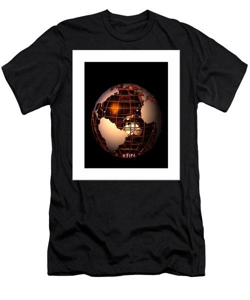 Men's T-Shirt (Slim Fit) featuring the digital art Bronze Globe... by Tim Fillingim