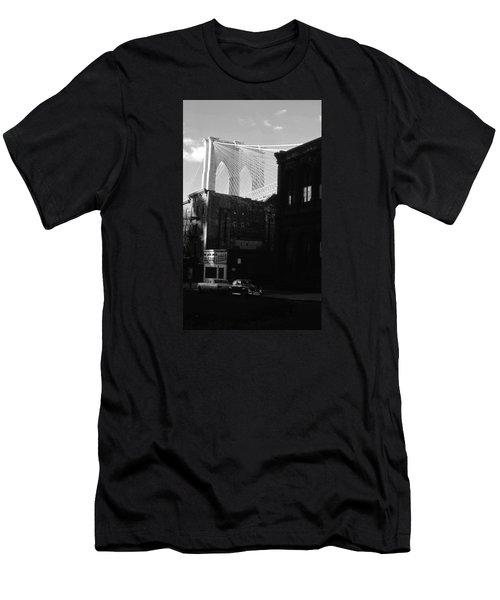 Men's T-Shirt (Slim Fit) featuring the photograph Brooklyn Bridge 1970 by John Schneider