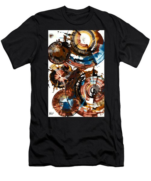 Men's T-Shirt (Slim Fit) featuring the painting Brown And Blue Spherical Joy - 992.042212 by Kris Haas