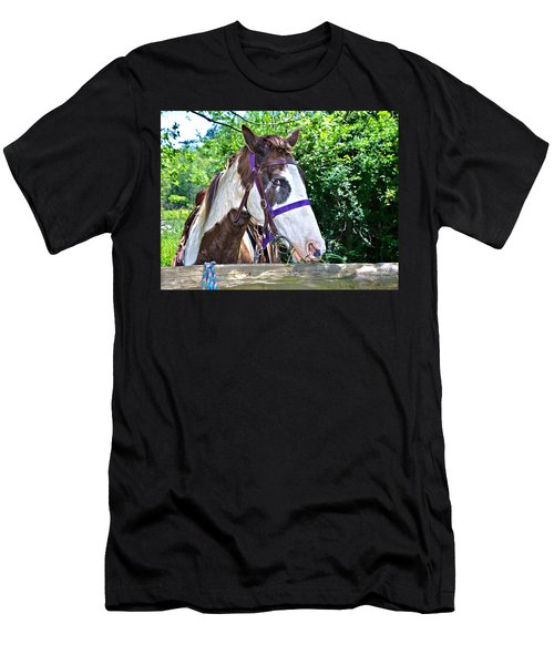 Men's T-Shirt (Slim Fit) featuring the photograph Brown And White Horse by Susan Leggett