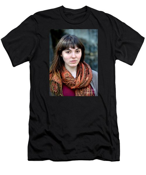 Brown Haired And Freckle Faced Natural Beauty Model Viii Men's T-Shirt (Slim Fit) by Jim Fitzpatrick